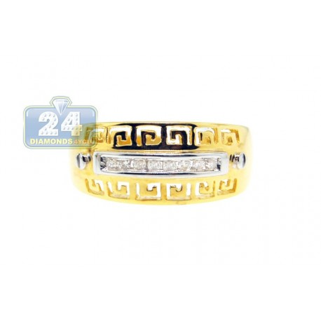14K Yellow Gold 0.10 ct Diamond Womens Greek Band Ring