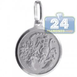 Sterling Silver Scorpio Zodiac Sign Round Medallion Pendant