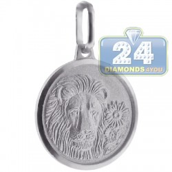 925 Sterling Silver Leo Zodiac Sign Round Medallion Pendant
