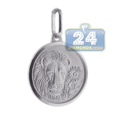 925 Sterling Silver Leo Zodiac Sign Round Medallion Pendant