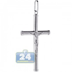 925 Sterling Silver Jesus Christ Large Cross Mens Pendant