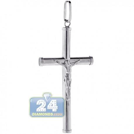 Sterling Silver Jesus Christ Large Crucifix Cross Mens Pendant
