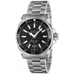 Gucci Dive Black Dial Steel Bracelet Mens Watch YA136301