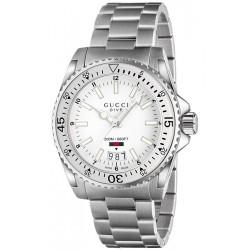 Gucci Dive Steel Bracelet White Dial Mens Watch YA136302