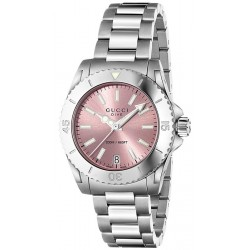 Gucci Dive Stainless Steel Pink Dial Womens Watch YA136401