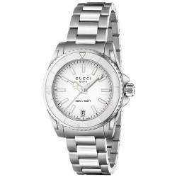 Gucci Dive Steel Bracelet White Dial Womens Watch YA136402