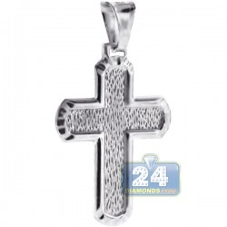 925 Sterling Silver Pattern Cross Mens Pendant