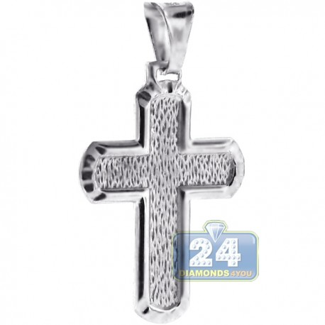 Solid Sterling Silver Pattern Cross Mens Religious Pendant