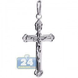Vintage 925 Sterling Silver Jesus Christ Cross Mens Pendant