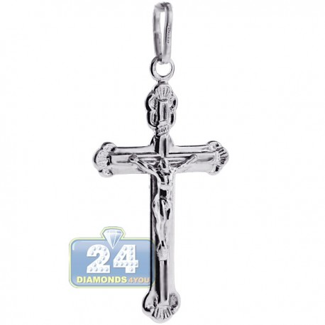 Vintage 925 Sterling Silver Jesus Christ Cross Mens Pendant