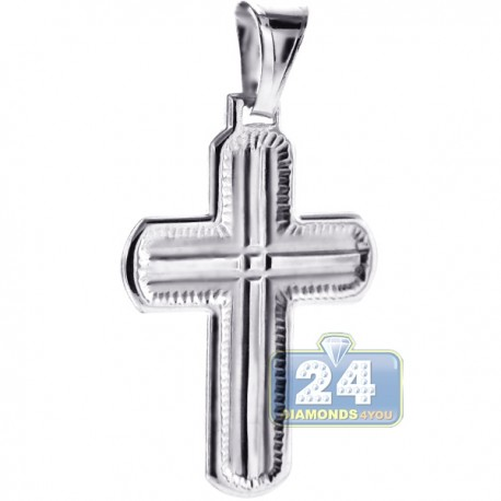 Italian 925 Sterling Silver Wide Cross Mens Religious Pendant