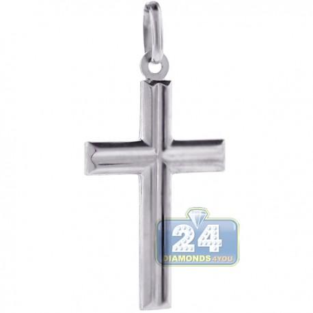 Mens Religious Latin Cross Pendant Italian Sterling Silver
