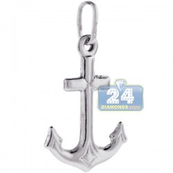 925 Sterling Silver Large Puff Anchor Mens Pendant