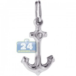 Womens Small Puff Mariner Anchor Pendant 925 Sterling Silver