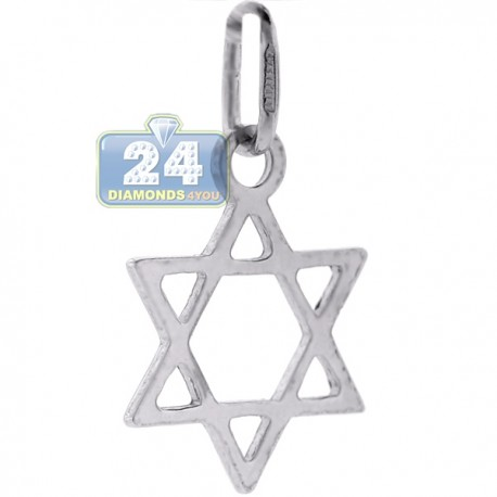 925 Sterling Silver Small Star Of David Jewish Pendant 1""
