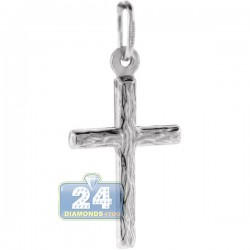 Italian Sterling Silver Diamond Cut Cross Unisex Pendant