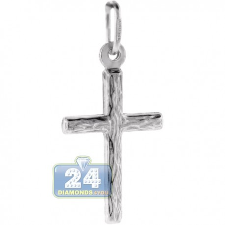 Italian Sterling Silver Diamond Cut Cross Religious Pendant