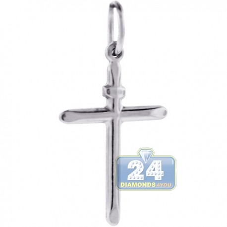 Sterling Silver Smooth Classic Cross Mens Religious Pendant