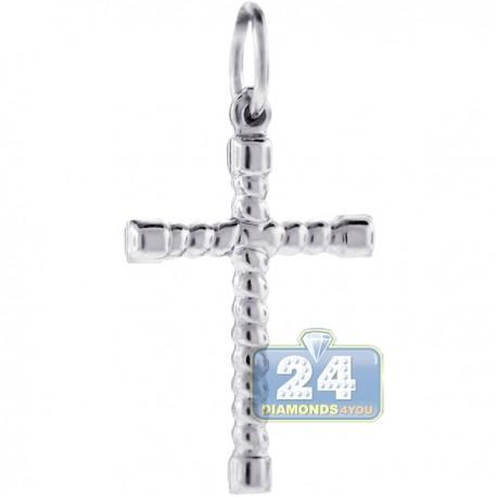 Italian Sterling Silver Braided Cross Mens Religious Pendant