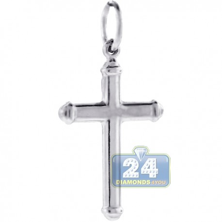 Mens Puff Classic Cross Religious Pendant Sterling Silver