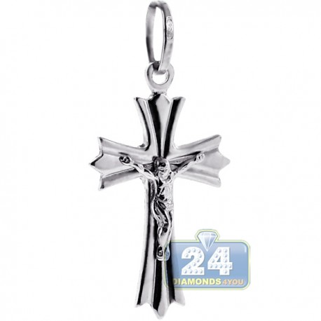 Mens Crucifix Cross Religious Pendant 925 Sterling Silver 1.5""