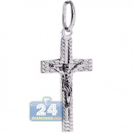 Mens Womens Crucifix Cross Religious Pendant Sterling Silver