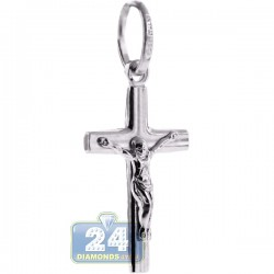 Mens Women Jesus Christ Cross Small Pendant Sterling Silver