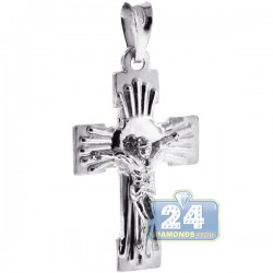 Mens Wide Crucifix Cross Pendant Italian 925 Sterling Silver