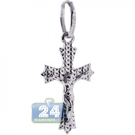 925 Sterling Silver Jesus Christ Diamond Cut Cross Pendant