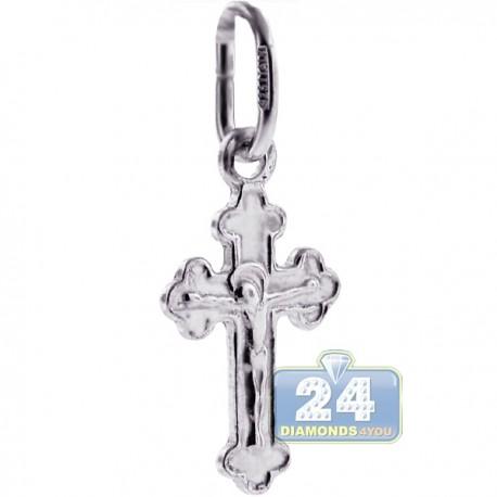 Kids Jesus Christ Crucifix Small Cross Pendant Sterling Silver