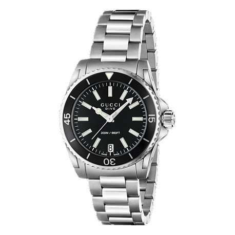 22be41eab Gucci Dive Black Dial Womens Steel Bracelet Watch YA136403