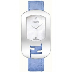 F300034532D1 Fendi Chameleon Steel Case Blue Leather Watch 29mm