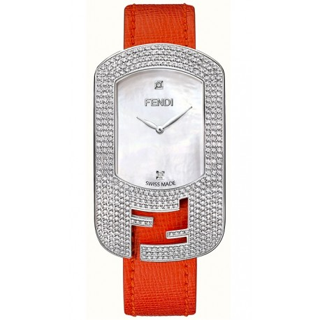 F300034575P1 Fendi Chameleon Diamond Steel Case Fuchsia Strap Watch 29mm