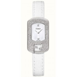 F300024541P1 Fendi Chameleon Diamond Steel Case White Dial Watch 18mm