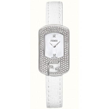 F300024541P1 Fendi Chameleon Diamond Steel Case White Dial Watch 18mm