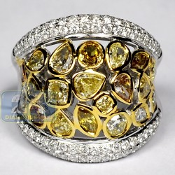 14K White Gold 4.75 ct Fancy Yellow Diamond Womens Wide Ring