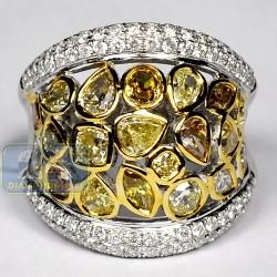 14K White Gold 4.75 ct Fancy Yellow Diamond Womens Wide Ring