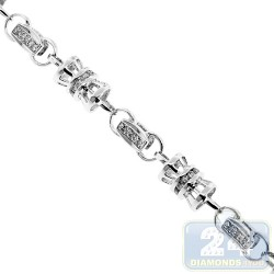 14K White Gold 5.92 ct Diamond Link Mens Chain 6.5 mm 30 Inches