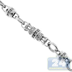 14K White Gold 8.78 ct Diamond Custom Bead Link Mens Chain