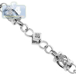 14K White Gold 5.02 ct Diamond Link Mens Chain 6.5 mm 31 Inches