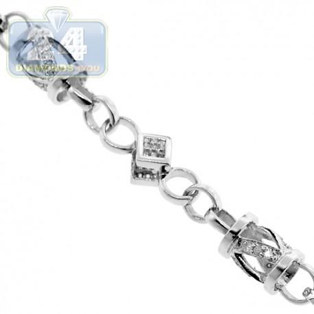 "Mens Diamond Beaded Link Chain 14K White Gold 5.02ct 6.5mm 30"""