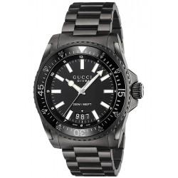 Gucci Dive Black PVD Steel Bracelet Mens Watch YA136205