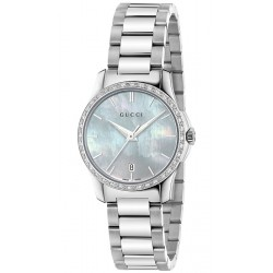 Gucci G-Timeless 27 mm Diamond Womens Steel Watch YA126525