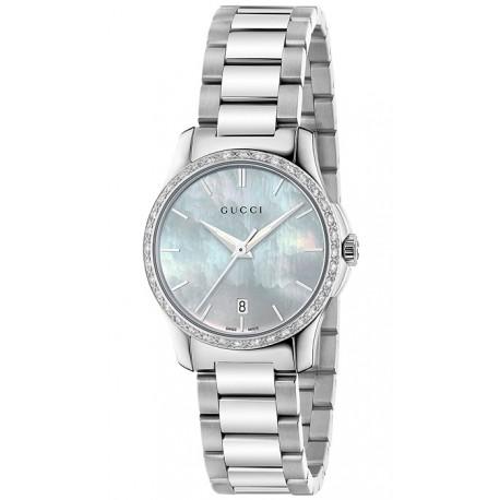 Gucci G-Timeless 27 mm Diamond Womens Steel Watch YA126525