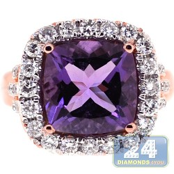 18K Rose Gold 5.84 ct Cushion Amethyst Diamond Womens Ring