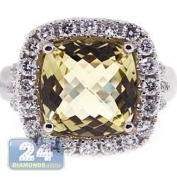 18K Two Tone Gold 5.68 ct Yellow Quartz Diamond Womens Ring