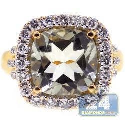 18K Yellow Gold 6.06 ct Green Amethyst Diamond Womens Ring