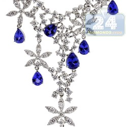 Womens Diamond Tanzanite Necklace 18K White Gold 19.44ct 16""