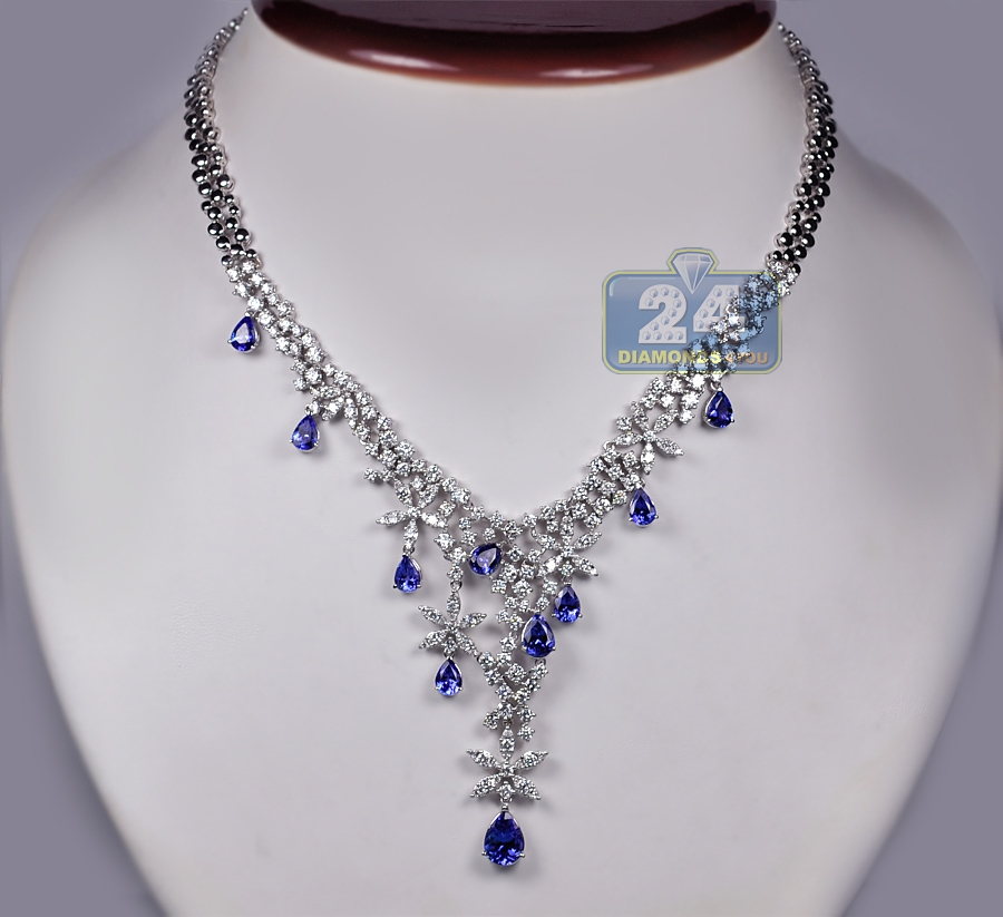 womens diamond tanzanite necklace 18k white gold 16. Black Bedroom Furniture Sets. Home Design Ideas