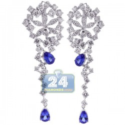 18K White Gold 8.95 ct Diamond Tanzanite Womens Earrings